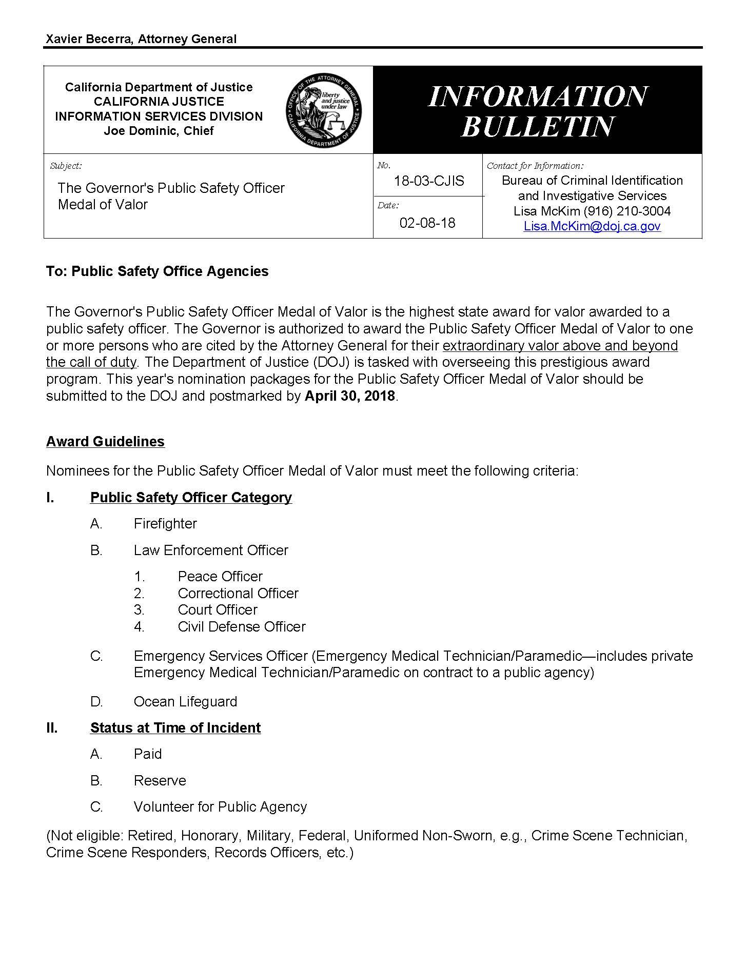 Governor's Public Safety Officer Medal of Valor - PORAC