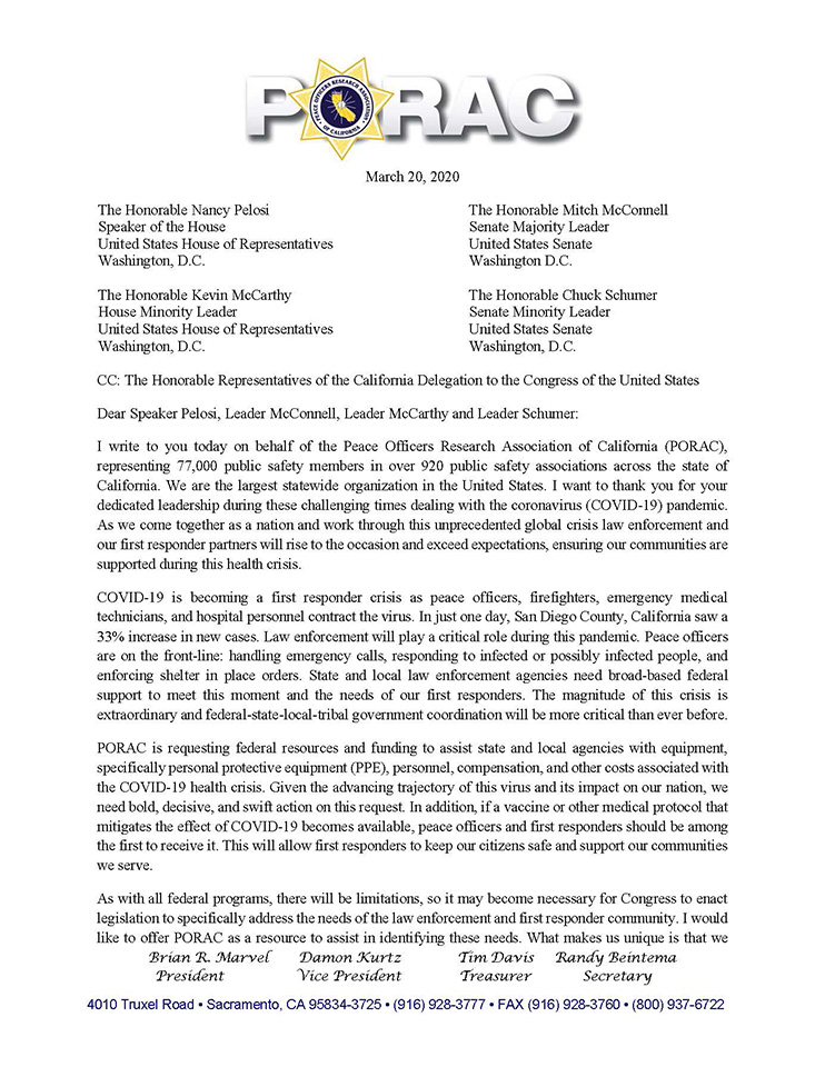 Letter to the Federal Funds and Resource Committee